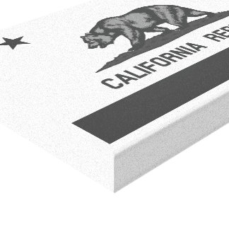 Black and White California Republic Flag Stretched Canvas Print