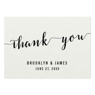 Black And White Calligraphy Wedding Favor Tags Pack Of Chubby Business Cards