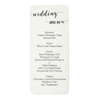 Black And White Calligraphy Wedding Menu Cards