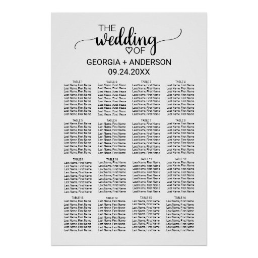 Black and White Calligraphy Wedding Seating Chart