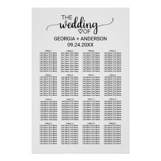 Black and White Calligraphy Wedding Seating Chart Poster