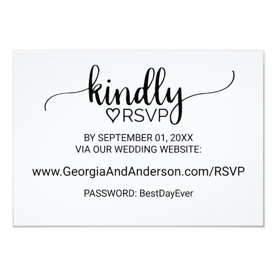 Black and White Calligraphy Wedding Website RSVP Card