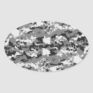 Black and White Camouflage Oval Sticker