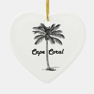 Black and White Cape Coral & Palm design Ceramic Heart Decoration