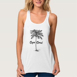 Black and White Cape Coral & Palm design Tank Top