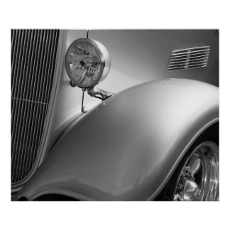 Black and White Car Photo Poster