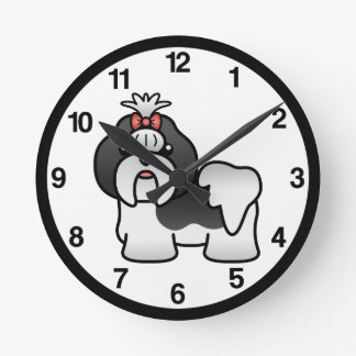 Black And White Cartoon Shih Tzu Round Clock