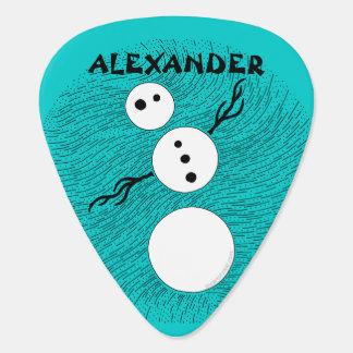 Black And White Cartoon Snowman Christmas Custom Guitar Pick