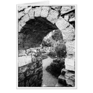 Black and white castle arch blank greetings card