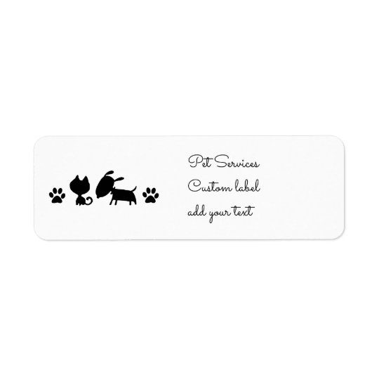 black and white cat and dog logo return address label