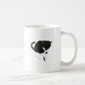 Black and White Cat Art Basic White Mug