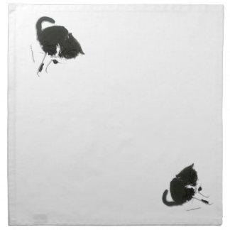 Black and White Cat Art Napkin