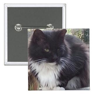 Black and White Cat 15 Cm Square Badge