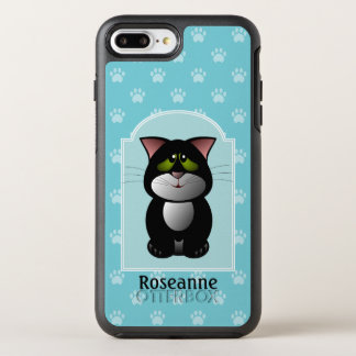 Black and White Cat.Blue Paw Print. Personalized OtterBox Symmetry iPhone 8 Plus/7 Plus Case