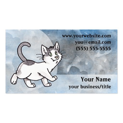 Black and White Cat Business Card - Blue and Gray