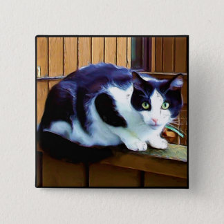 Black and White Cat button