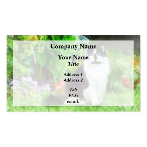 Black and White Cat by Flowers Business Cards