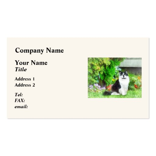 Black and White Cat by Flowers Business Card Template