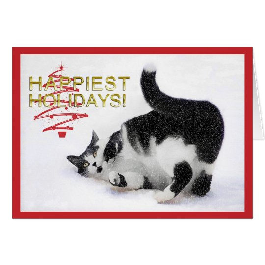 Black and White Cat Christmas Card