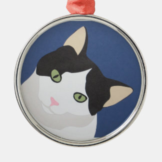 Black and white cat christmas ornament