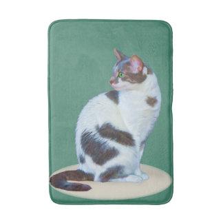 Black and White Cat, Customizable Bath Mat