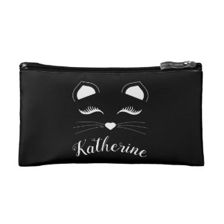 Black and White Cat Face Cosmetic Bag