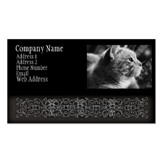 Black and White Cat Gren Eyes Pack Of Standard Business Cards