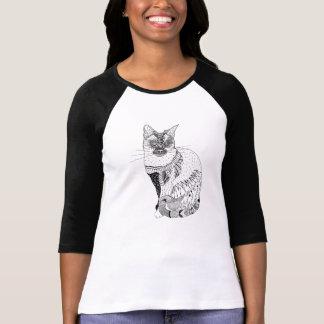 Black and white cat illustration shirt