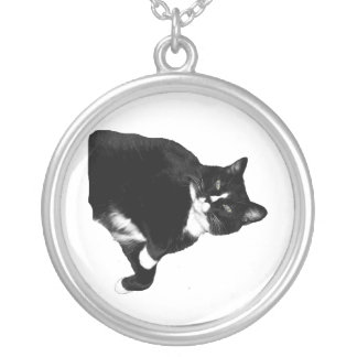 Black and White Cat Looking Up Cutout Custom Jewelry