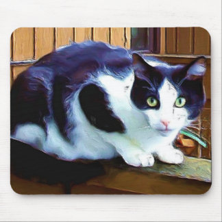 Black and White Cat mousepad