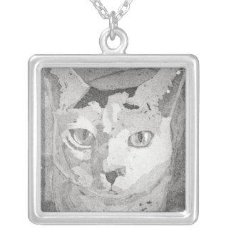 Black and White Cat Square Pendant Necklace