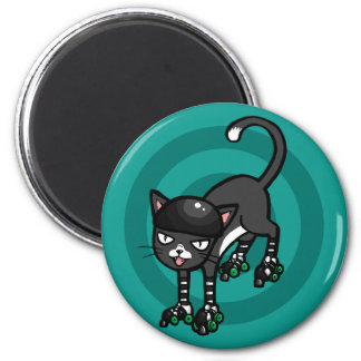 Black and white cat on Rollerskates Refrigerator Magnets