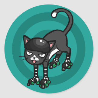 Black and white cat on Rollerskates Round Sticker