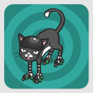 Black and white cat on Rollerskates Square Sticker