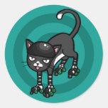 Black and white cat on Rollerskates Sticker