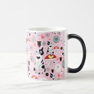 Black and White Cat Pattern For Cat Lovers Magic Mug