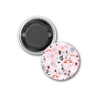 Black and White Cat Pattern For Cat Lovers 3 Cm Round Magnet