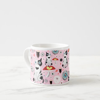 Black and White Cat Pattern For Cat Lovers 6 Oz Ceramic Espresso Cup