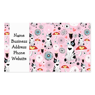 Black and White Cat Pattern For Cat Lovers Pack Of Standard Business Cards