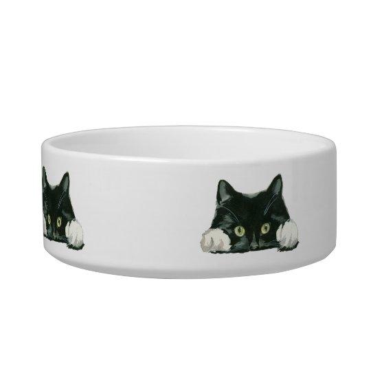 black and white cat pet food bowl dish