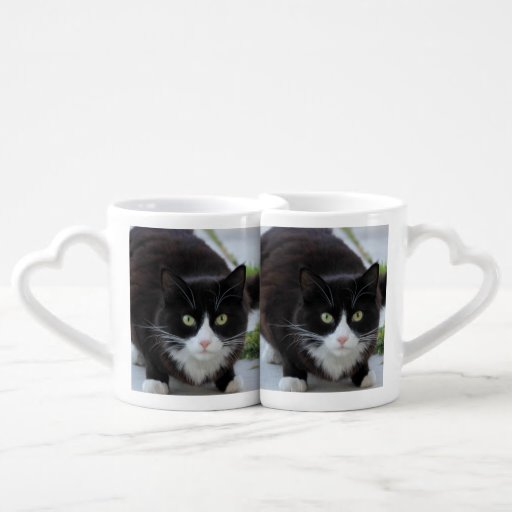 Black and white cat lovers mug sets