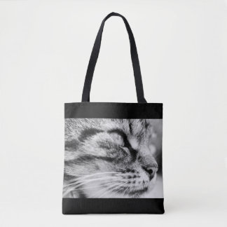 Black and white cat picture, tote bag.