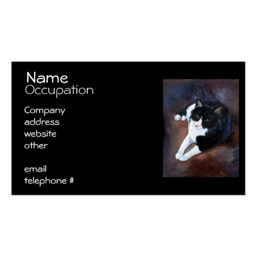 Black and White Cat Portrait Business Card Template