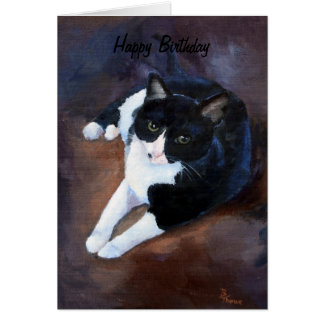 Black and White Cat Portrait Greeting Card