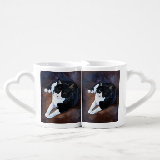 Black and White Cat Portrait Lovers Mugs