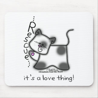 Black and white cat RESCUE it s a love thing Mouse Mats