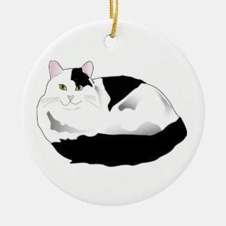 black and white cat round ceramic decoration