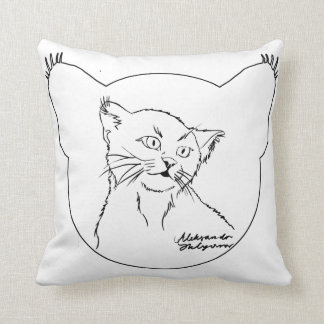 Black and white, cat. throw pillow