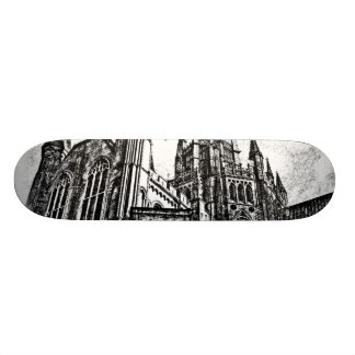 Black and White Cathedral Skateboard