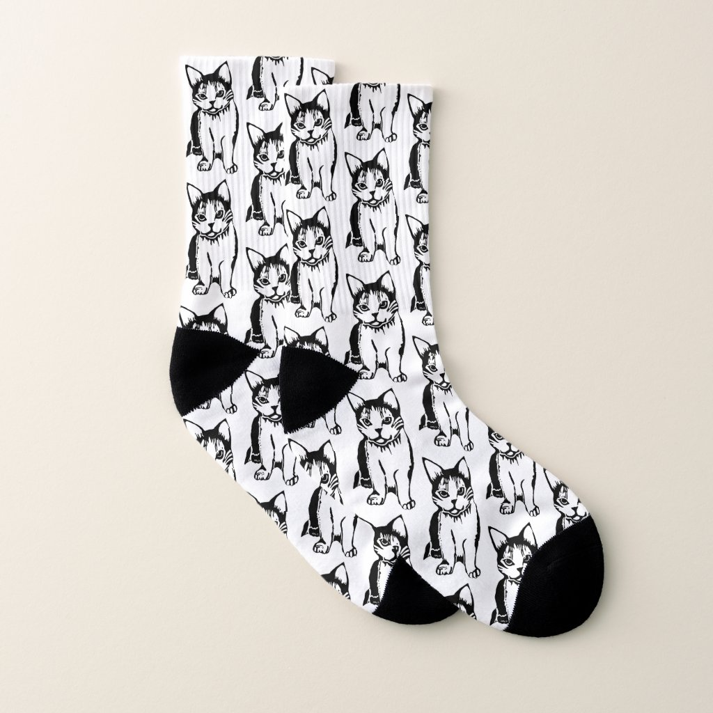 Black and White Cats All-Over-Print Socks